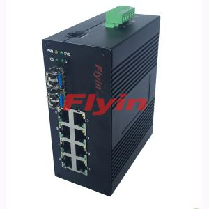 10/100/1000M Industrial Fiber media converter with 8 RJ45 port + 2 Fiber port
