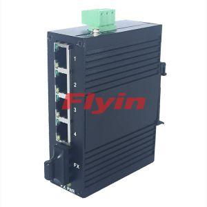 Industrial Fiber media converter with 4 RJ45 port + 1 Fiber ports